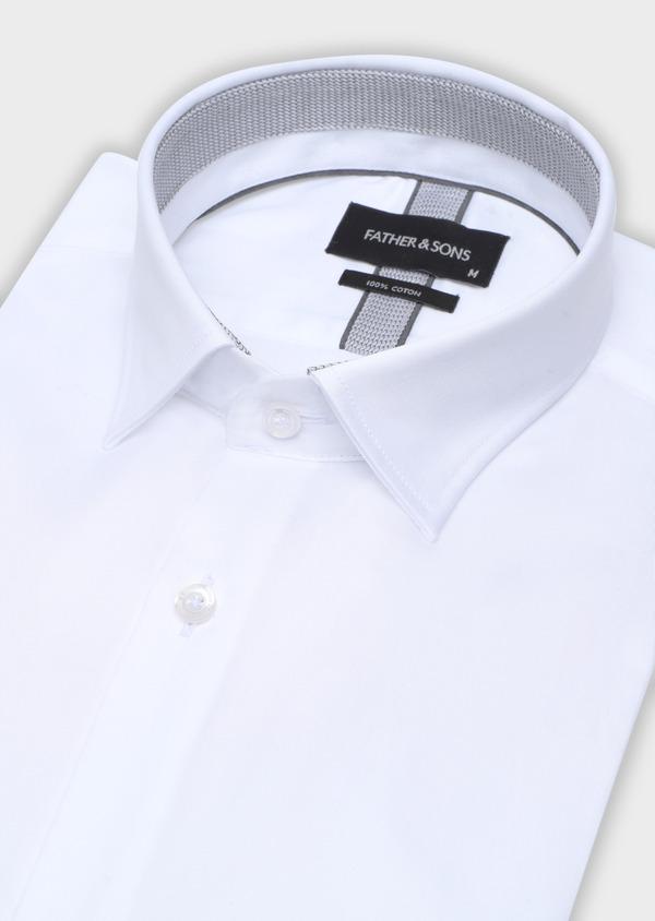 Chemise manches courtes Slim en satin de coton uni blanc - Father and Sons 34115