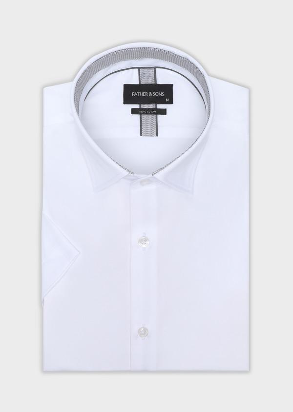 Chemise manches courtes Slim en satin de coton uni blanc - Father and Sons 34113