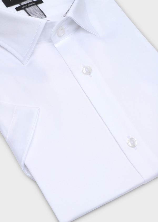 Chemise manches courtes Slim en satin de coton uni blanc - Father and Sons 34116