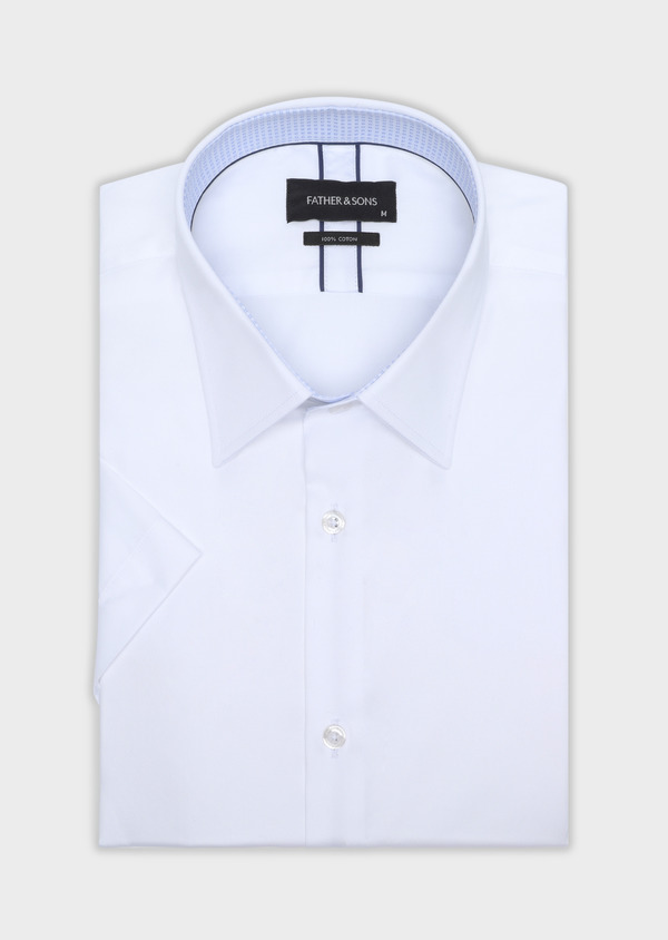 Chemise manches courtes Slim en satin de coton uni blanc - Father and Sons 34121
