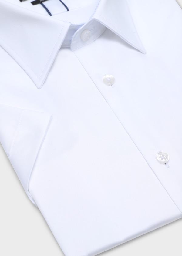Chemise manches courtes Slim en satin de coton uni blanc - Father and Sons 34124