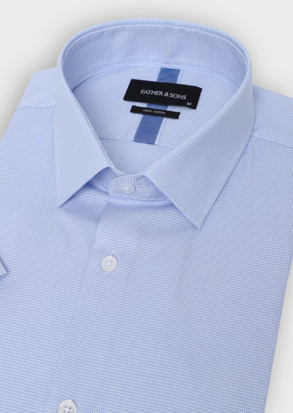Chemise manches courtes Slim en façonné de coton uni bleu ciel - Father and Sons 34420