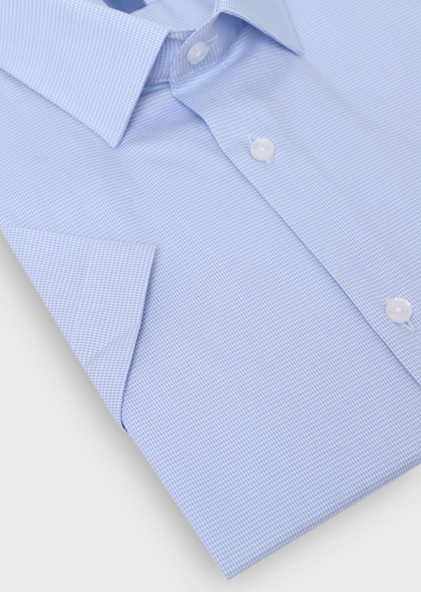 Chemise manches courtes Slim en façonné de coton uni bleu ciel - Father and Sons 34421