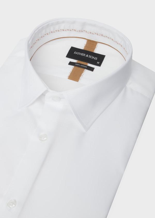 Chemise manches courtes Slim en satin de coton uni blanc - Father and Sons 40457