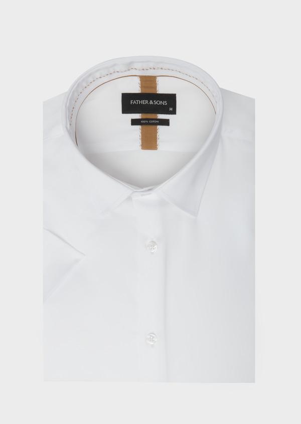 Chemise manches courtes Slim en satin de coton uni blanc - Father and Sons 40454