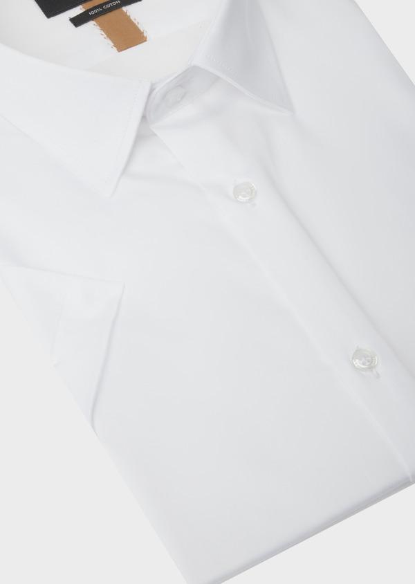 Chemise manches courtes Slim en satin de coton uni blanc - Father and Sons 40456