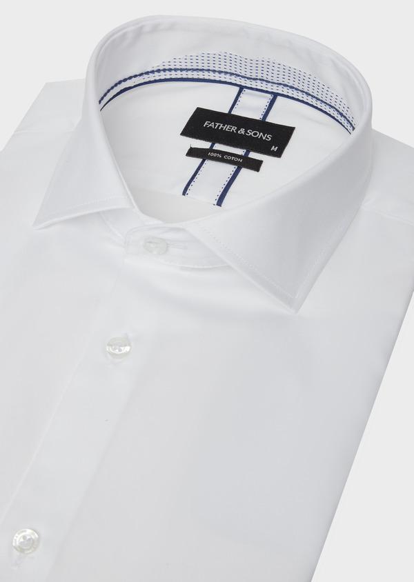 Chemise manches courtes Slim en satin de coton uni blanc - Father and Sons 40461