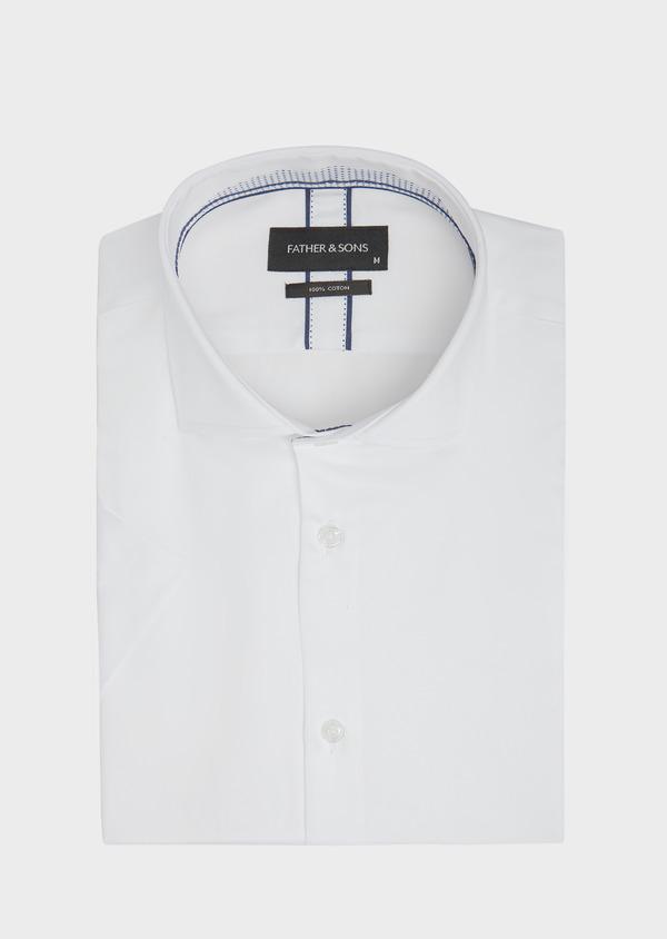 Chemise manches courtes Slim en satin de coton uni blanc - Father and Sons 40458