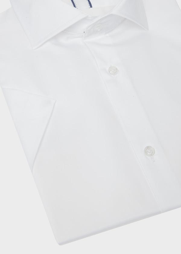 Chemise manches courtes Slim en satin de coton uni blanc - Father and Sons 40460