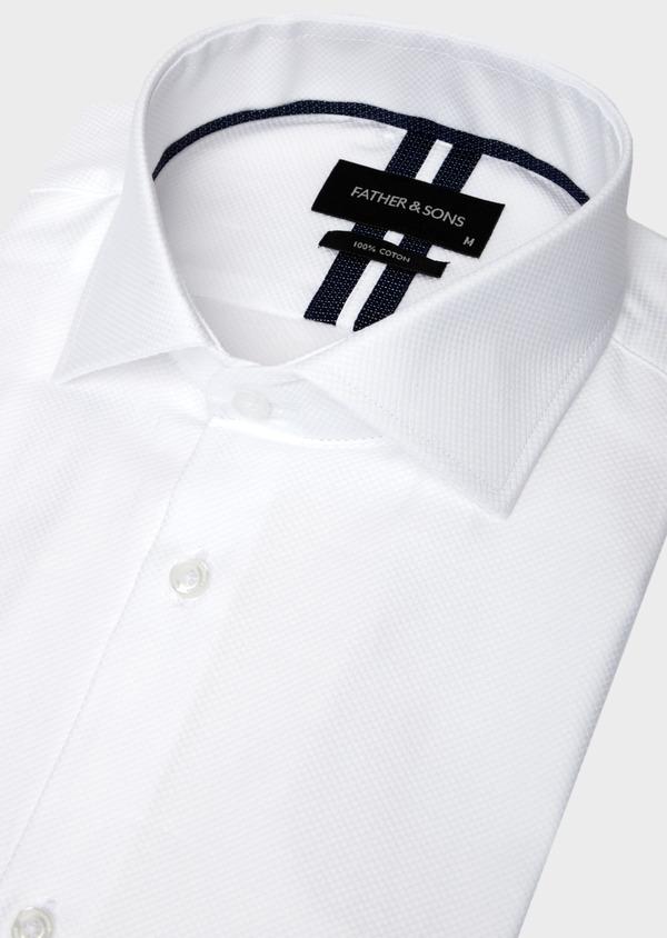 Chemise manches courtes Regular en façonné de coton uni blanc - Father and Sons 40465