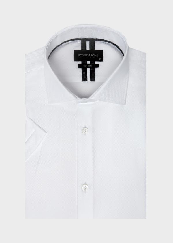 Chemise manches courtes Regular en façonné de coton uni blanc - Father and Sons 40462