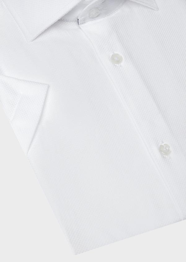 Chemise manches courtes Regular en façonné de coton uni blanc - Father and Sons 40464