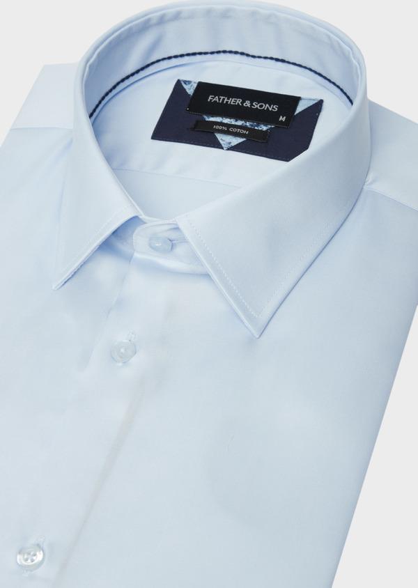 Chemise manches courtes Slim en satin de coton uni bleu ciel - Father and Sons 40469