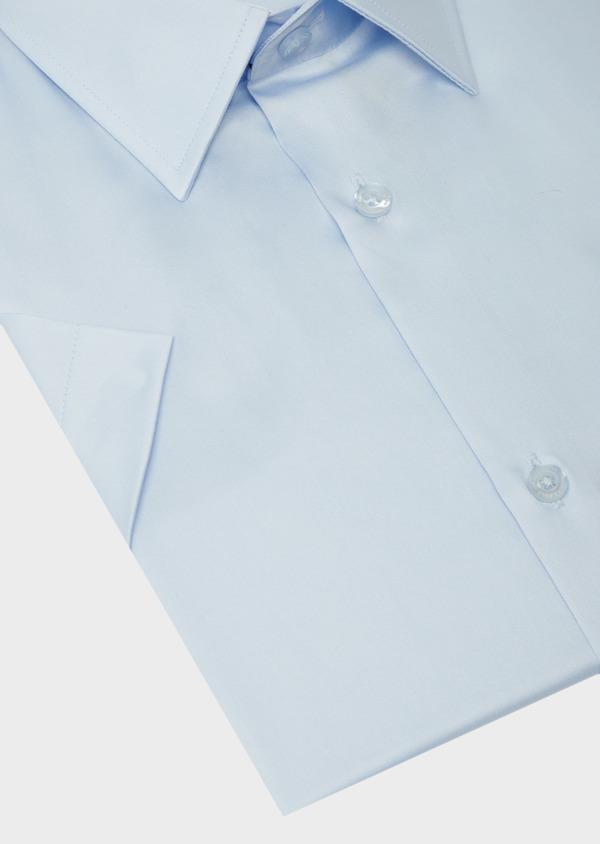 Chemise manches courtes Slim en satin de coton uni bleu ciel - Father and Sons 40468