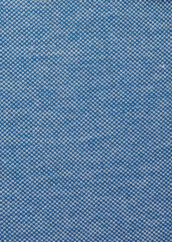 Chemise manches longues Slim en coton jersey uni bleu - Father and Sons 27410
