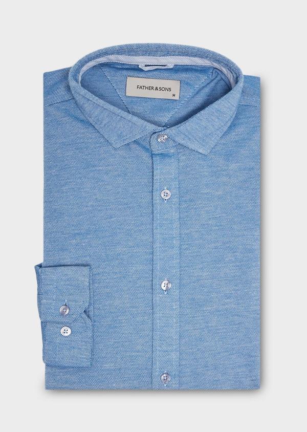 Chemise manches longues Slim en coton jersey uni bleu - Father and Sons 27409