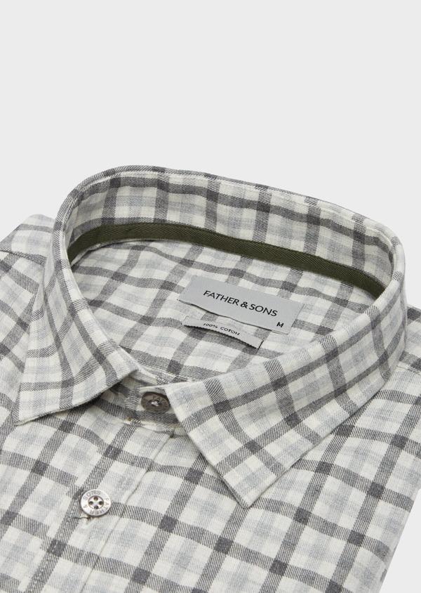 Chemise sport Slim en coton gris à carreaux - Father and Sons 40893