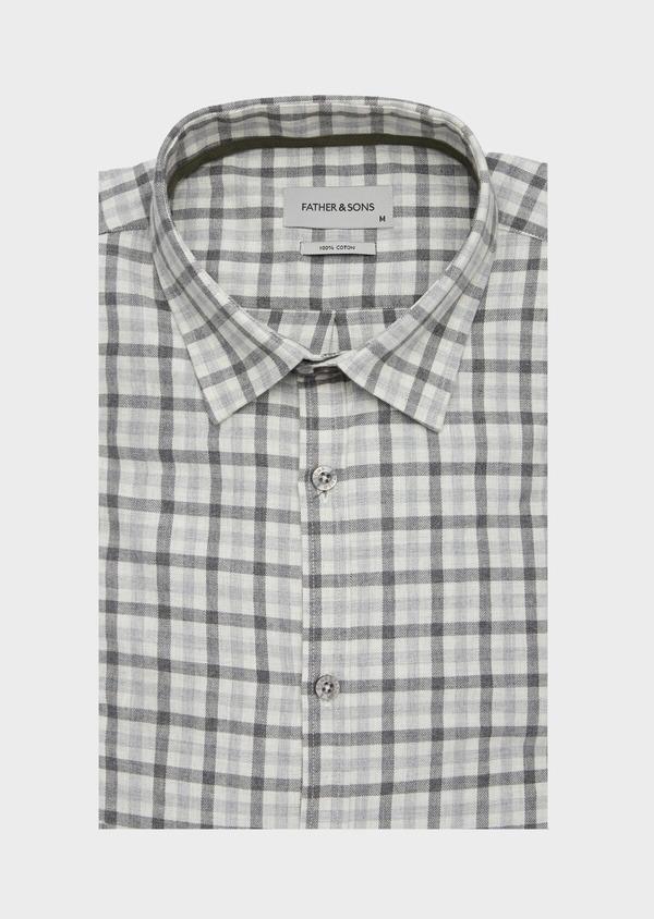 Chemise sport Slim en coton gris à carreaux - Father and Sons 40891