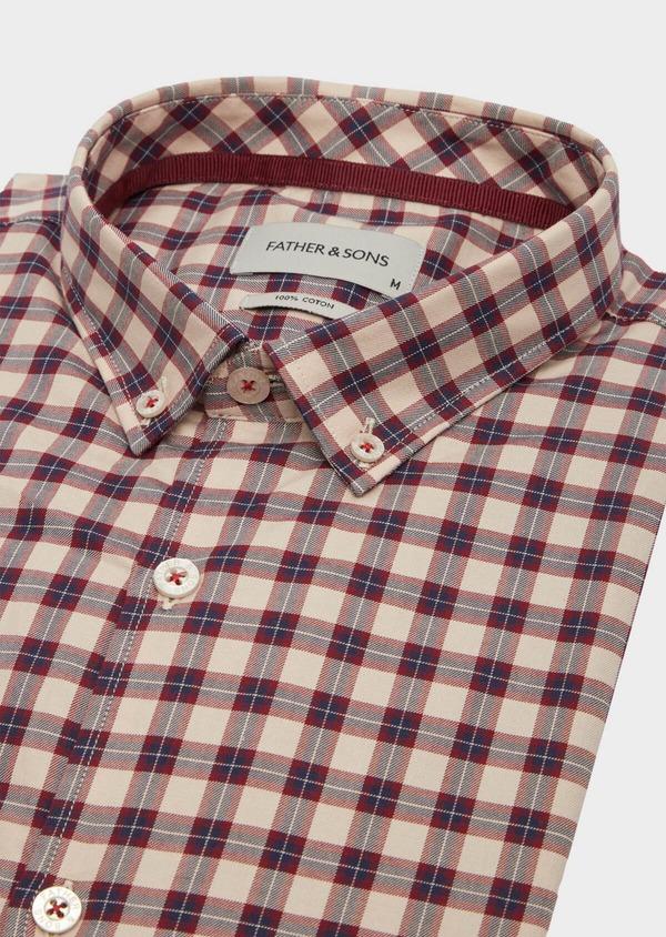 Chemise sport Slim en popeline de coton rouge à carreaux - Father and Sons 40909