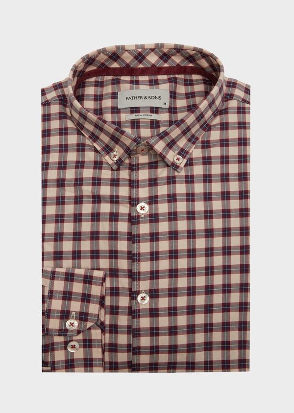 Chemise sport Slim en popeline de coton rouge à carreaux - Father and Sons 40907