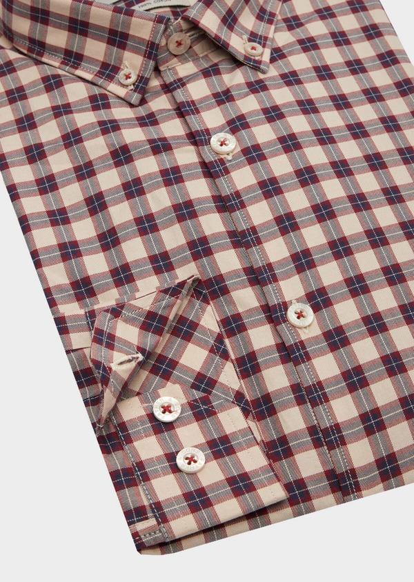 Chemise sport Slim en popeline de coton rouge à carreaux - Father and Sons 40910