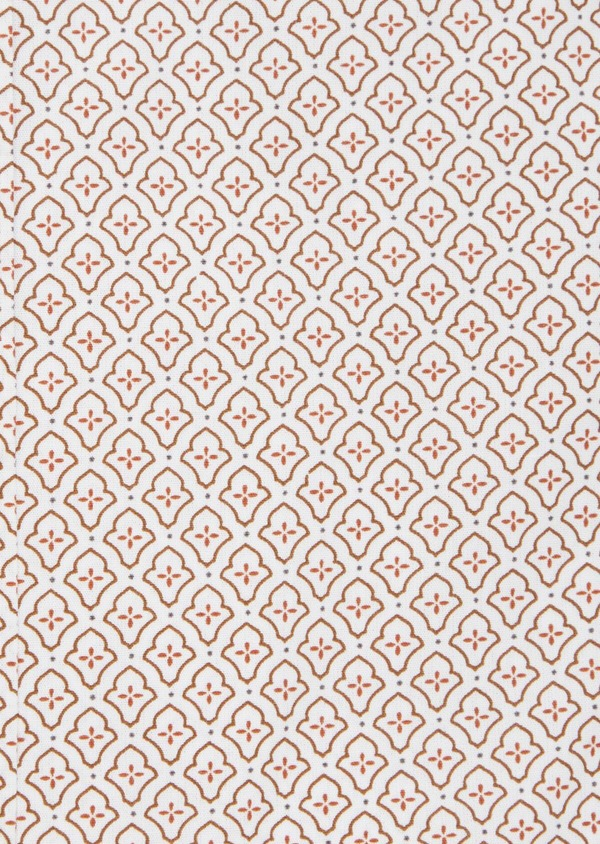 Chemise sport Slim en popeline de coton blanc à motif fantaisie orange - Father and Sons 40904