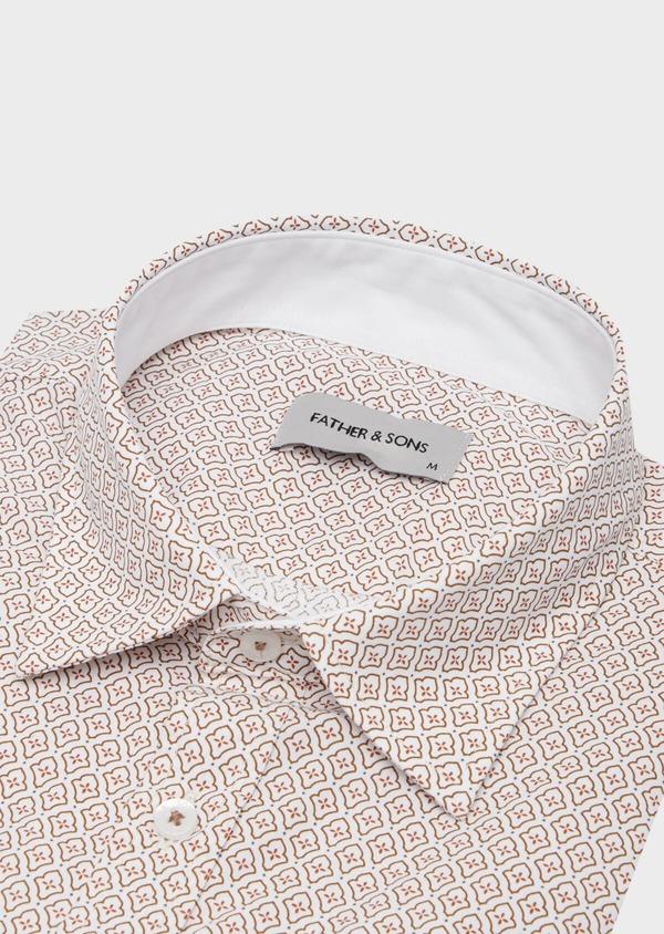 Chemise sport Slim en popeline de coton blanc à motif fantaisie orange - Father and Sons 40905