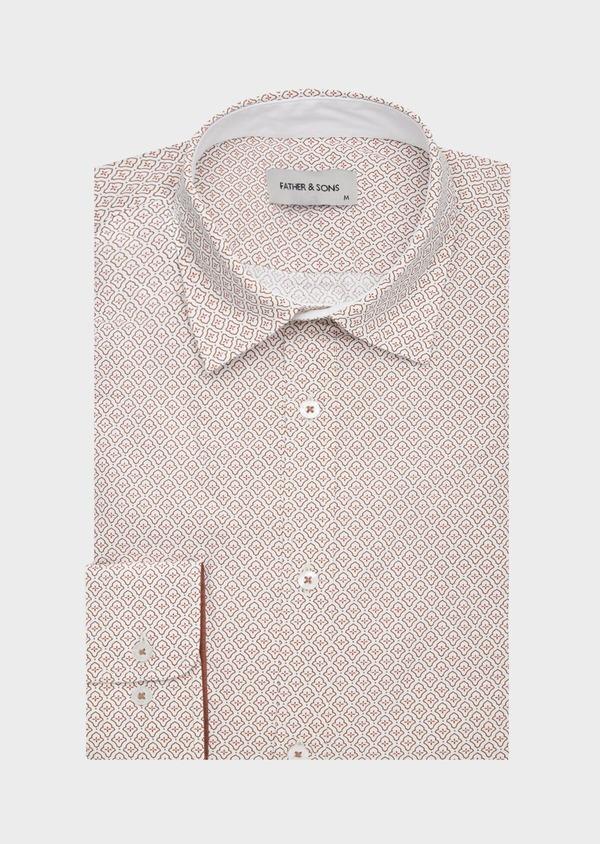Chemise sport Slim en popeline de coton blanc à motif fantaisie orange - Father and Sons 40903
