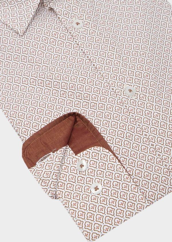 Chemise sport Slim en popeline de coton blanc à motif fantaisie orange - Father and Sons 40906