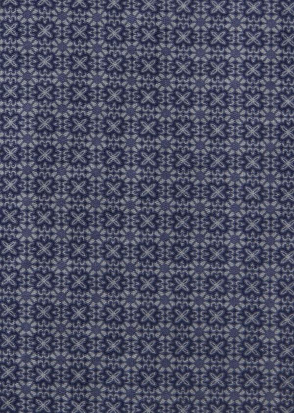 Chemise sport Slim en popeline de coton bleu jean à motif fantaisie - Father and Sons 41754