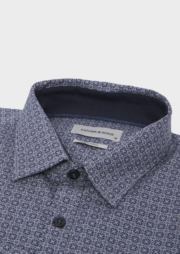 Chemise sport Slim en popeline de coton bleu jean à motif fantaisie - Father and Sons 41755