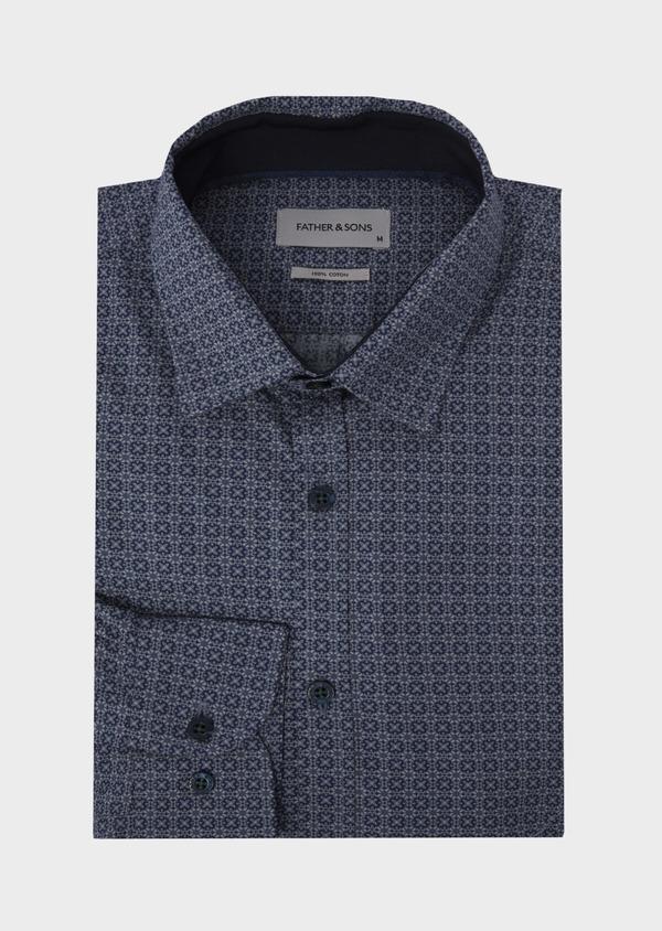 Chemise sport Slim en popeline de coton bleu jean à motif fantaisie - Father and Sons 41753