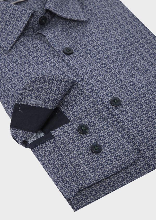 Chemise sport Slim en popeline de coton bleu jean à motif fantaisie - Father and Sons 41756