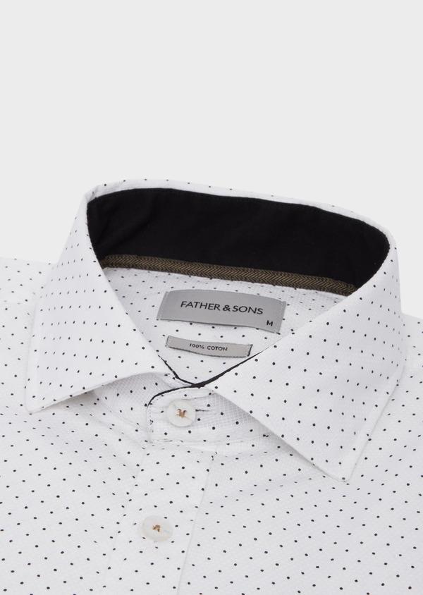 Chemise sport Slim en coton façonné blanc à pois - Father and Sons 41751