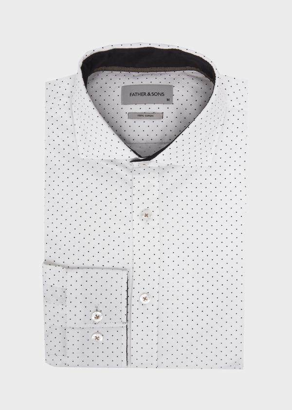 Chemise sport Slim en coton façonné blanc à pois - Father and Sons 41749