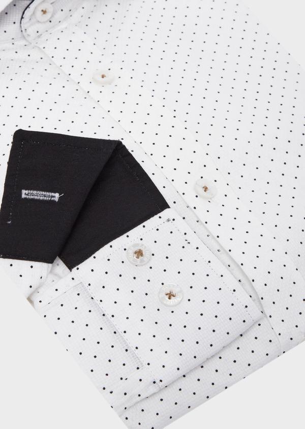 Chemise sport Slim en coton façonné blanc à pois - Father and Sons 41752