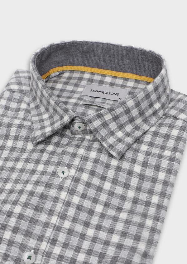 Chemise sport Regular en twill de coton gris à carreaux - Father and Sons 35654