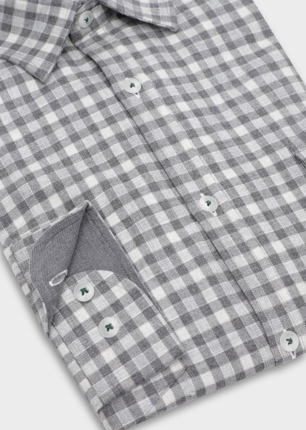 Chemise sport Regular en twill de coton gris à carreaux - Father and Sons 35655