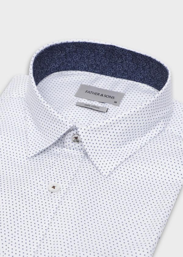 Chemise sport Regular en twill de coton blanc à motif fantaisie - Father and Sons 35634