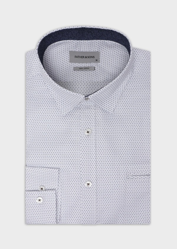 Chemise sport Regular en twill de coton blanc à motif fantaisie - Father and Sons 35632