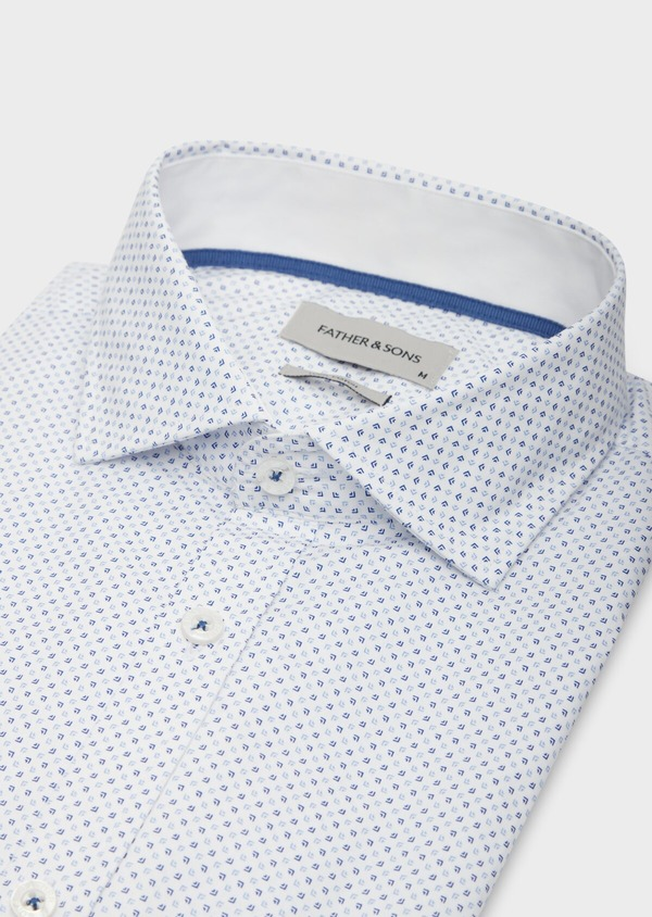 Chemise sport Regular en popeline de coton blanc à motif fantaisie bleu - Father and Sons 38618