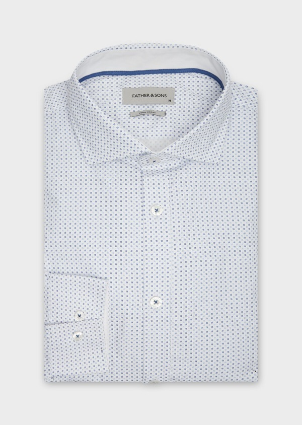 Chemise sport Regular en popeline de coton blanc à motif fantaisie bleu - Father and Sons 38616