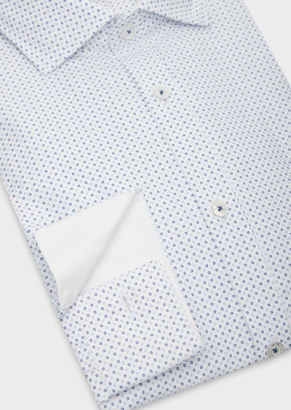 Chemise sport Regular en popeline de coton blanc à motif fantaisie bleu - Father and Sons 38619