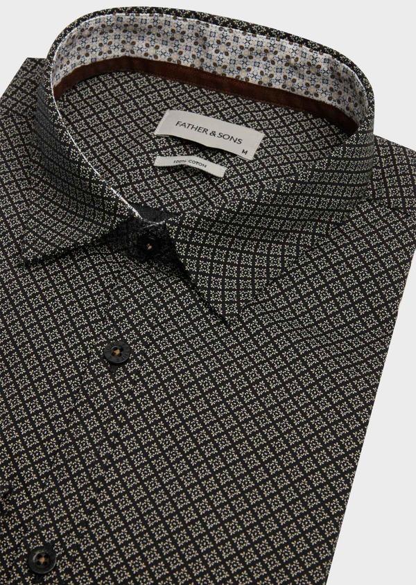Chemise sport Regular en popeline de coton gris anthracite à motif fantaisie - Father and Sons 39193