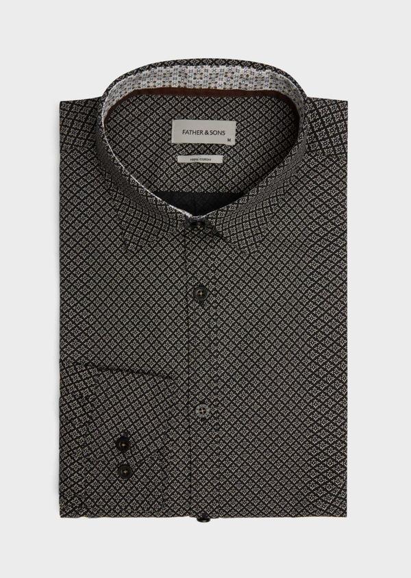 Chemise sport Regular en popeline de coton gris anthracite à motif fantaisie - Father and Sons 39191