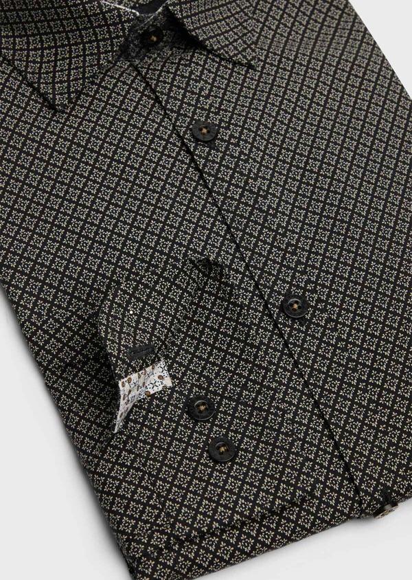 Chemise sport Regular en popeline de coton gris anthracite à motif fantaisie - Father and Sons 39194