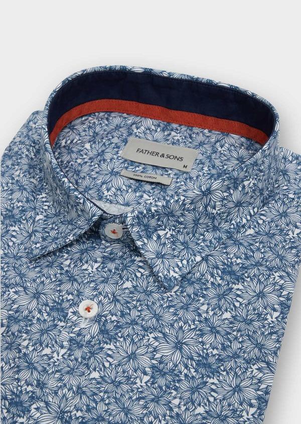 Chemise sport Regular en popeline de coton blanc à motif fleuri - Father and Sons 39181