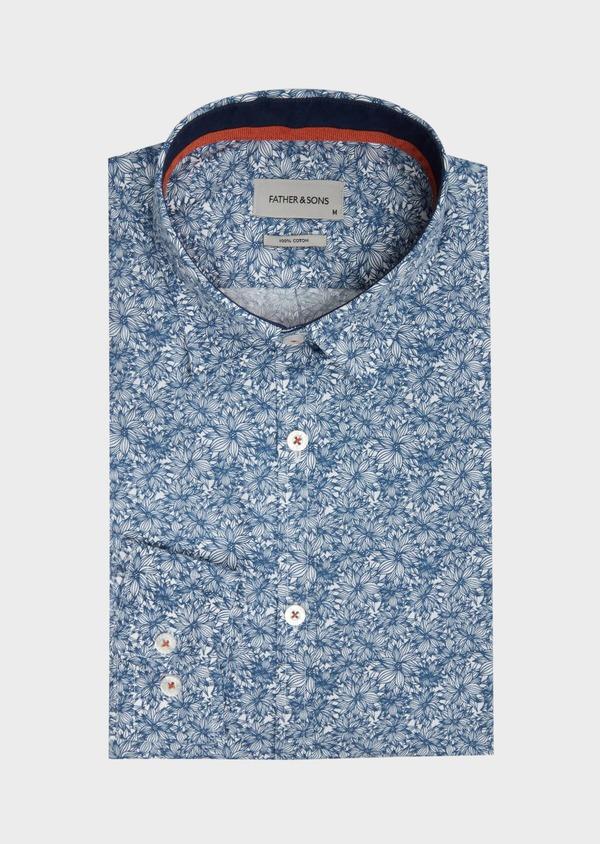 Chemise sport Regular en popeline de coton blanc à motif fleuri - Father and Sons 39179