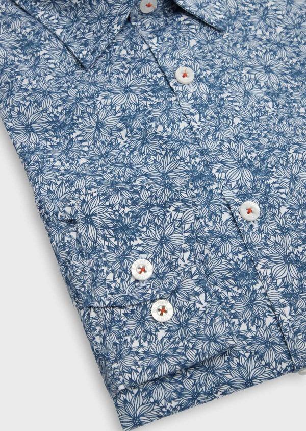 Chemise sport Regular en popeline de coton blanc à motif fleuri - Father and Sons 39182