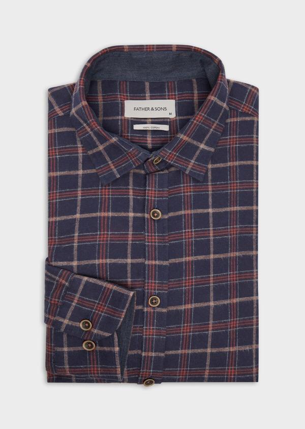 Chemise sport Regular en popeline de coton bleu nuit à motifs géométriques - Father and Sons 36591